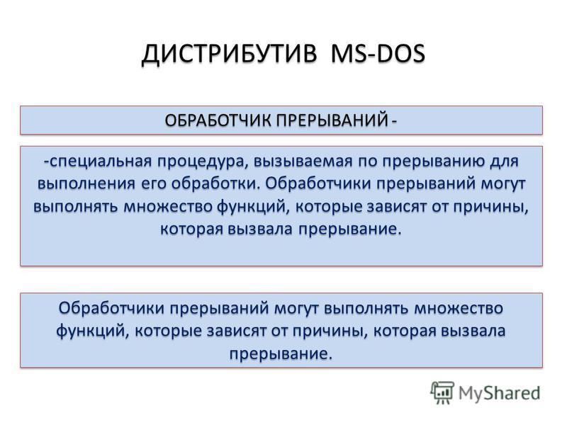 ДИСТРИБУТИВ MS-DOS ОБРАБОТЧИК ПРЕРЫВАНИЙ - -специальная процедура, вызываемая по прерыванию для выполнения его обработки. Обработчики прерываний могут выполнять множество функций, которые зависят от причины, которая вызвала прерывание. Обработчики пр