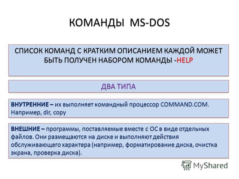 КОМАНДЫ MS-DOS СПИСОК КОМАНД С КРАТКИМ ОПИСАНИЕМ КАЖДОЙ МОЖЕТ БЫТЬ ПОЛУЧЕН НАБОРОМ КОМАНДЫ -HELP ДВА ТИПА ВНУТРЕННИЕ – их выполняет командный процессор COMMAND.COM. Например, dir, copy ВНЕШНИЕ – программы, поставляемые вместе с ОС в виде отдельных фа
