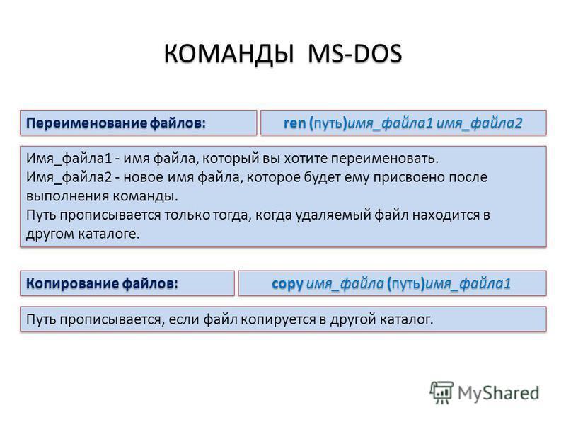 КОМАНДЫ MS-DOS Переименование файлов: ren (путь)имя_файла 1 имя_файла 2 Имя_файла 1 - имя файла, который вы хотите переименовать. Имя_файла 2 - новое имя файла, которое будет ему присвоено после выполнения команды. Путь прописывается только тогда, ко