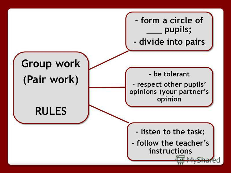 Group work (Pair work) RULES - form a circle of ___ pupils; - divide into pairs - be tolerant - respect other pupils opinions (your partners opinion - listen to the task: - follow the teachers instructions