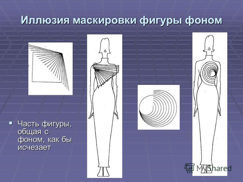 Иллюзия маскировки фигуры фоном Часть фигуры, общая с фоном, как бы исчезает Часть фигуры, общая с фоном, как бы исчезает