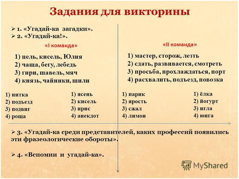 Задания для викторины «I команда» «II команда» 1. «Угадай-ка загадки». 2. «Угадай-ка!». 3. «Угадай-ка среди представителей, каких профессий появились эти фразеологические обороты». 1) цель, кисель, Юлия 2) чаща, бегу, лебедь 3) гири, щавель, мяч 4) к