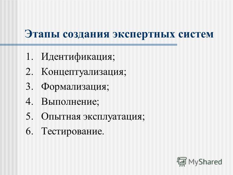 Этапы создания экспертных систем 1.Идентификация; 2.Концептуализация; 3.Формализация; 4.Выполнение; 5. Опытная эксплуатация; 6.Тестирование.
