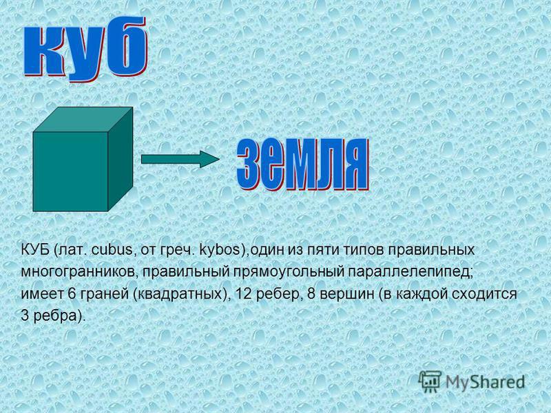 КУБ (лат. cubus, от греч. kybos),один из пяти типов правильных многогранников, правильный прямоугольный параллелепипед; имеет 6 граней (квадратных), 12 ребер, 8 вершин (в каждой сходится 3 ребра).
