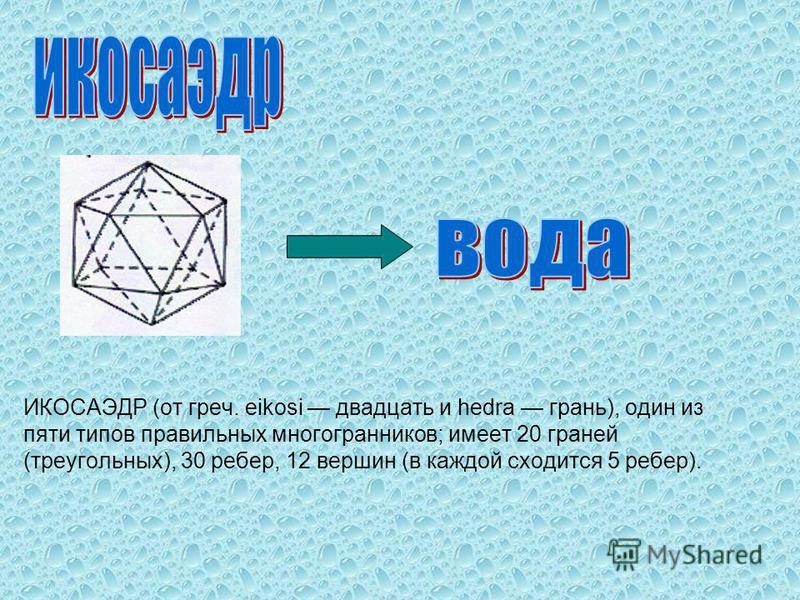 ИКОСАЭДР (от греч. eikosi двадцать и hedra грань), один из пяти типов правильных многогранников; имеет 20 граней (треугольных), 30 ребер, 12 вершин (в каждой сходится 5 ребер).