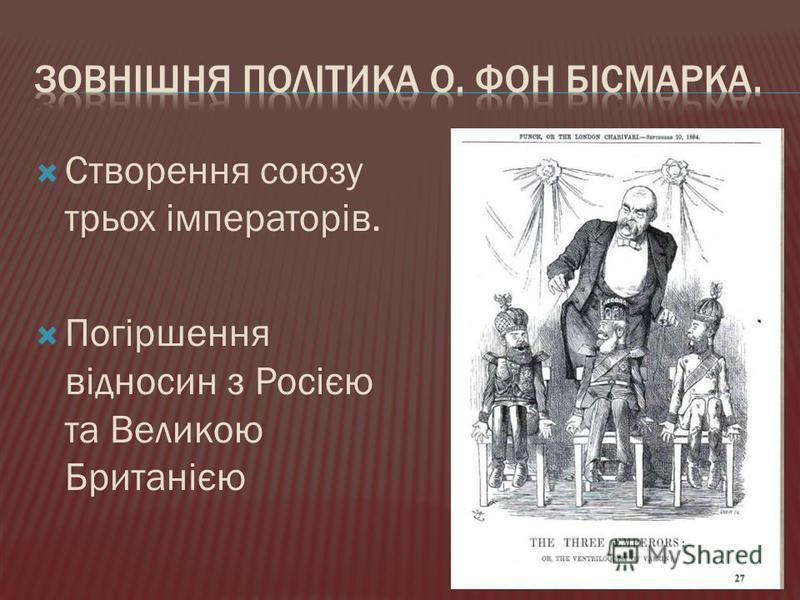 Створення союзу трьох імператорів. Погіршення відносин з Росією та Великою Британією