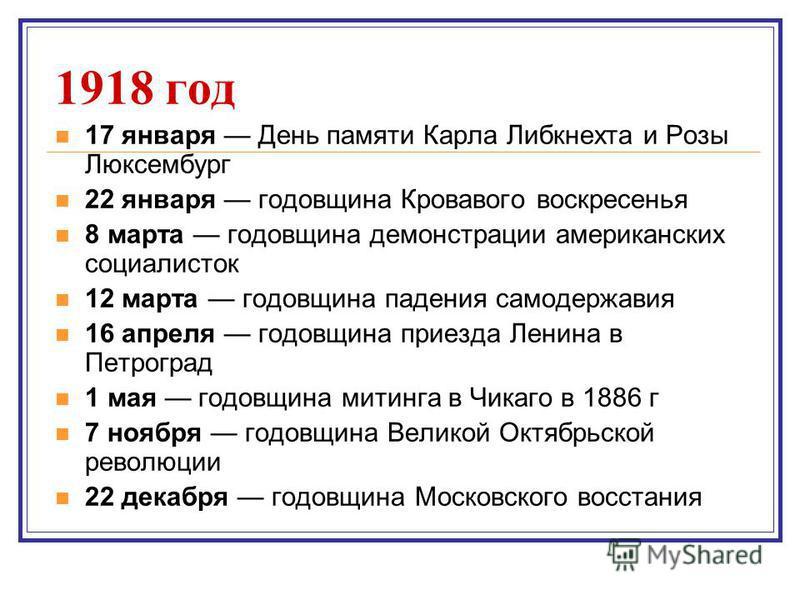 1918 год 17 января День памяти Карла Либкнехта и Розы Люксембург 22 января годовщина Кровавого воскресенья 8 марта годовщина демонстрации американских социалисток 12 марта годовщина падения самодержавия 16 апреля годовщина приезда Ленина в Петроград