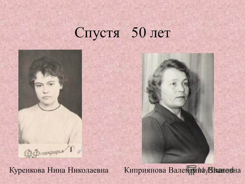 Спустя 50 лет Куренкова Нина Николаевна Киприянова Валентина Ивановна