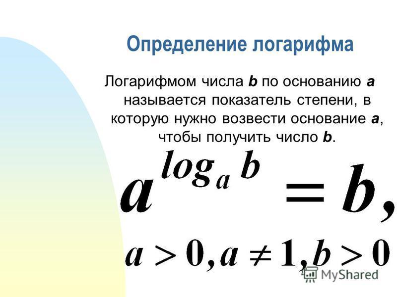 Определение логарифма Логарифмом числа b по основанию a называется показатель степени, в которую нужно возвести основание a, чтобы получить число b.