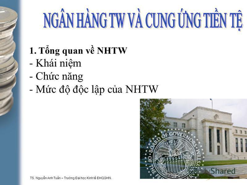 TS. Nguyn Anh Tun – Trưng Đi hc Kinh t ĐHQGHN. 1-2 1.Tng quan v NHTW - Khái nim - Chc năng - Mc đ đc lp ca NHTW