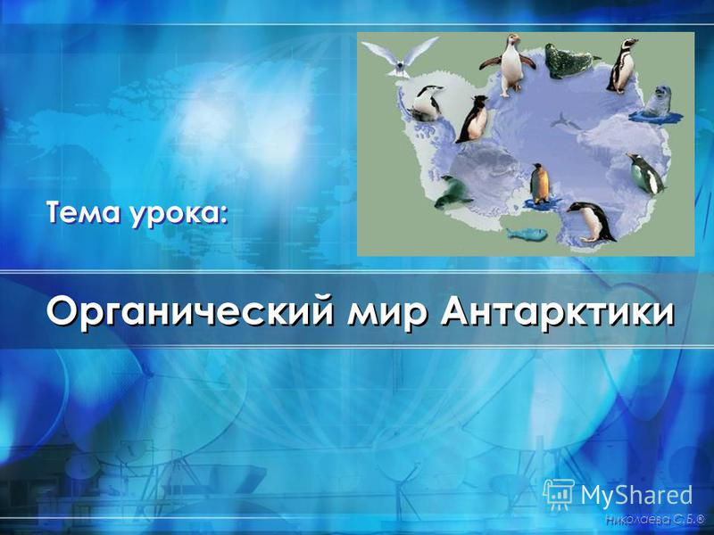 Органический мир Антарктики Николаева С.Б. ® Тема урока: