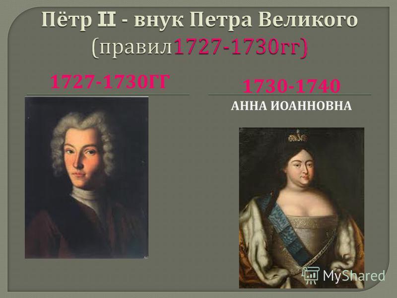 1727-1730 ГГ 1730-1740 АННА ИОАННОВНА