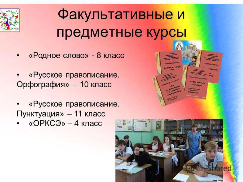 Факультативные и предметные курсы «Родное слово» - 8 класс «Русское правописание. Орфография» – 10 класс «Русское правописание. Пунктуация» – 11 класс «ОРКСЭ» – 4 класс