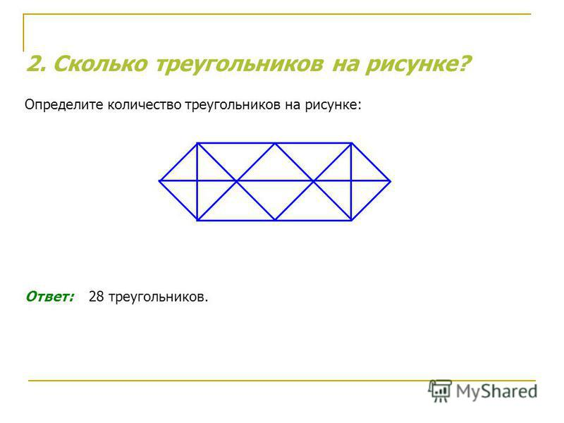2. Сколько треугольников на рисунке? Определите количество треугольников на рисунке: Ответ: 28 треугольников.