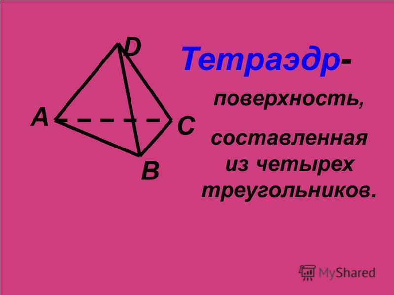 А В С D Тетраэдр- поверхность, составленная из четырех треугольников.