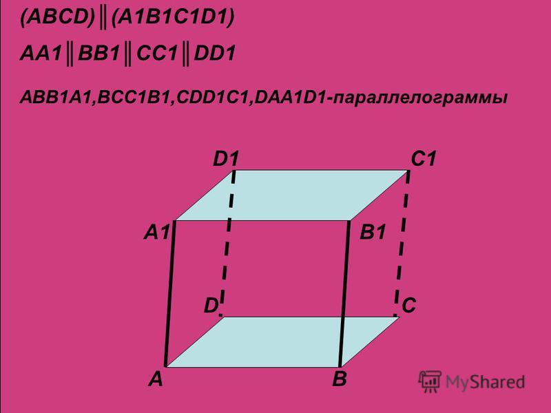 DC AB D1C1 A1B1 (ABCD)(A1B1C1D1) AA1BB1CC1DD1 ABB1A1,BCC1B1,CDD1C1,DAA1D1-параллелограммы