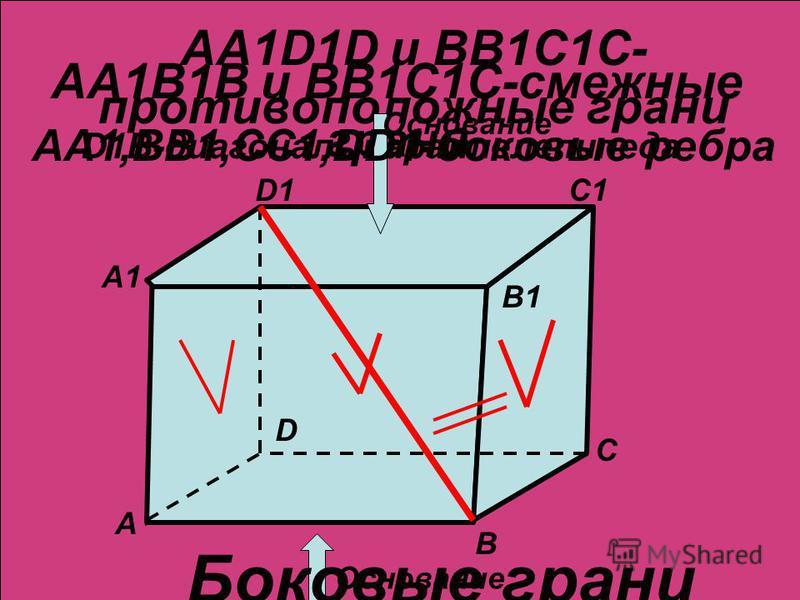 А1 C1 B1 A B C D АА1В1В и ВВ1С1С-смежные грани AA1D1D и BB1C1C- противоположные грани D1 D1B-диагональ параллелепипеда Основание Боковые грани AA1,BB1,CC1,DD1-боковые ребра