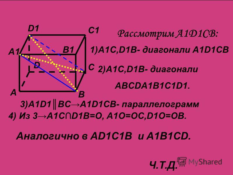 А В С D A1 B1 C1 D1 Рассмотрим A1D1CB: 1)A1C,D1B- диагонали A1D1CB 2)A1C,D1B- диагонали ABCDA1B1C1D1. 3)A1D1BCA1D1CB- параллелограмм 4) Из 3A1CD1B=O, A1O=OC,D1O=OB. Аналогично в AD1C1B и A1B1CD. Ч.Т.Д.