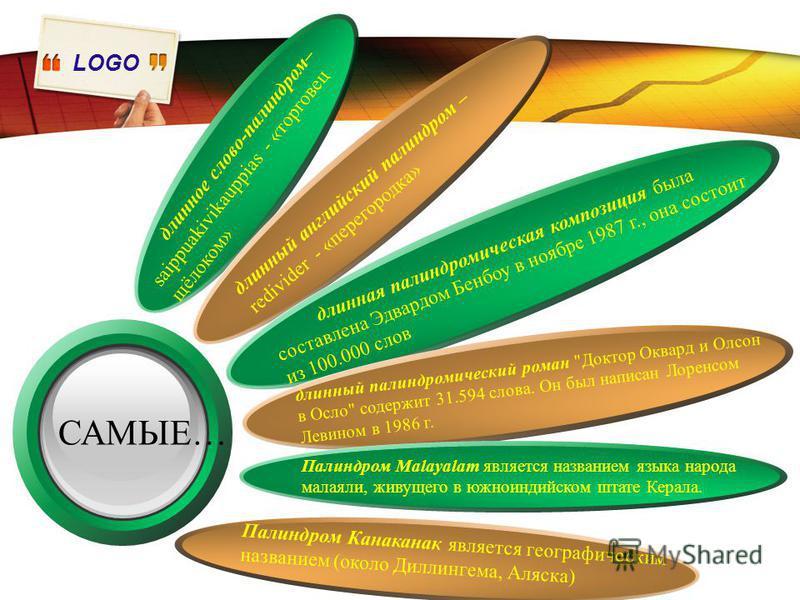 LOGO САМЫЕ… длинное слово-палиндром– saippuakivikauppias - «торговец щёлоком» длинный английский палиндром – redivider - «перегородка» длинная палиндромическая композиция была составлена Эдвардом Бенбоу в ноябре 1987 г., она состоит из 100.000 слов д