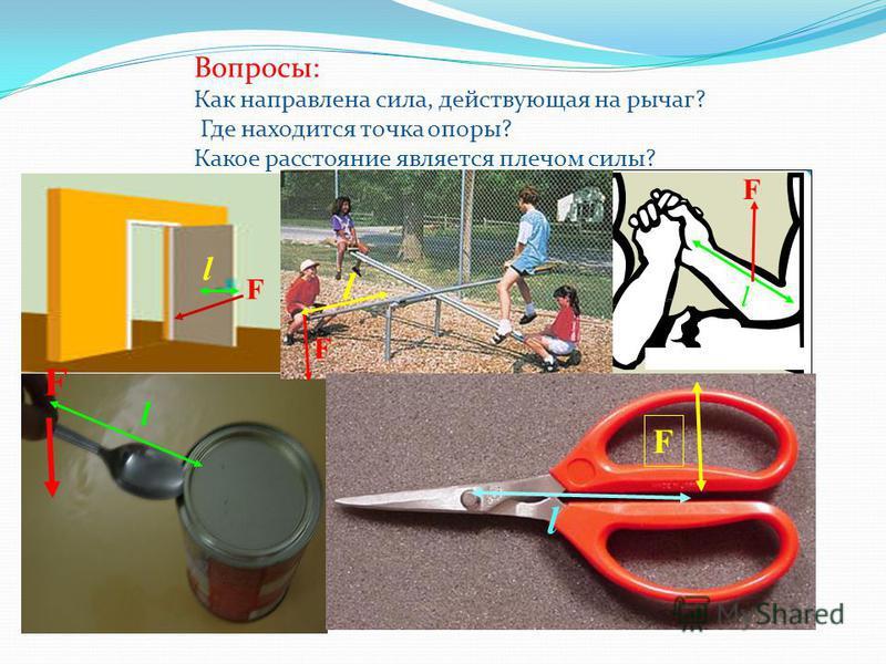 Вопросы: Как направлена сила, действующая на рычаг? Где находится точка опоры? Какое расстояние является плечом силы? F F l l l l F F l F
