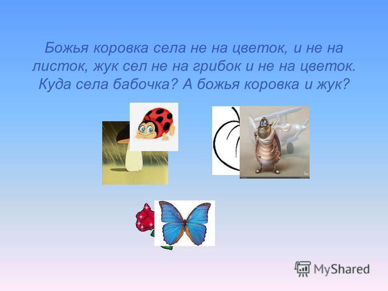Божья коровка села не на цветок, и не на листок, жук сел не на грибок и не на цветок. Куда села бабочка? А божья коровка и жук?