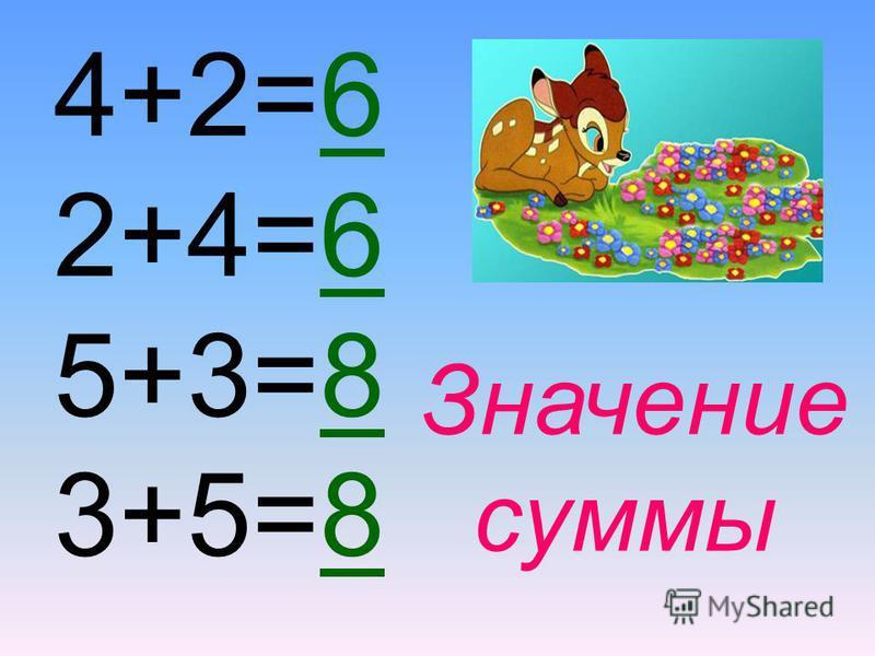 4+2 2+4 5+3 3+5 Сумма чисел