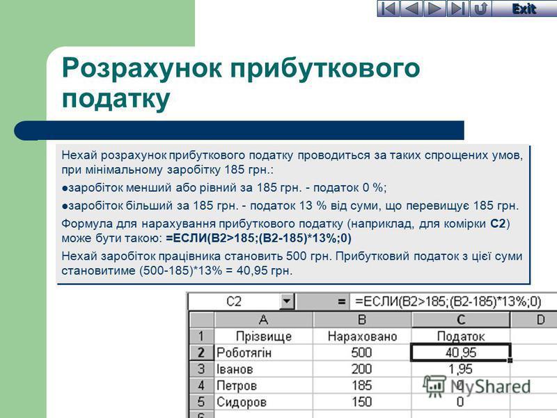 Exit Розрахунок прибуткового податку Нехай розрахунок прибуткового податку проводиться за таких спрощених умов, при мінімальному заробітку 185 грн.: заробіток менший або рівний за 185 грн. - податок 0 %; заробіток більший за 185 грн. - податок 13 % в