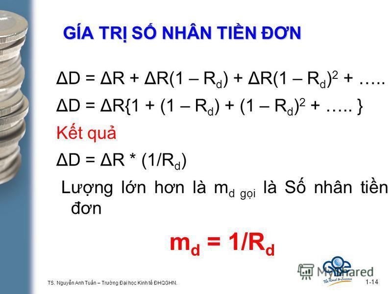 TS. Nguyn Anh Tun – Trưng Đi hc Kinh t ĐHQGHN. 1-14 GÍA TR S NHÂN TIN ĐƠN ΔD = ΔR + ΔR(1 – R d ) + ΔR(1 – R d ) 2 + ….. ΔD = ΔR{1 + (1 – R d ) + (1 – R d ) 2 + ….. } Kt qu ΔD = ΔR * (1/R d ) Lưng ln hơn là m d gi là S nhân tin đơn m d = 1/R d