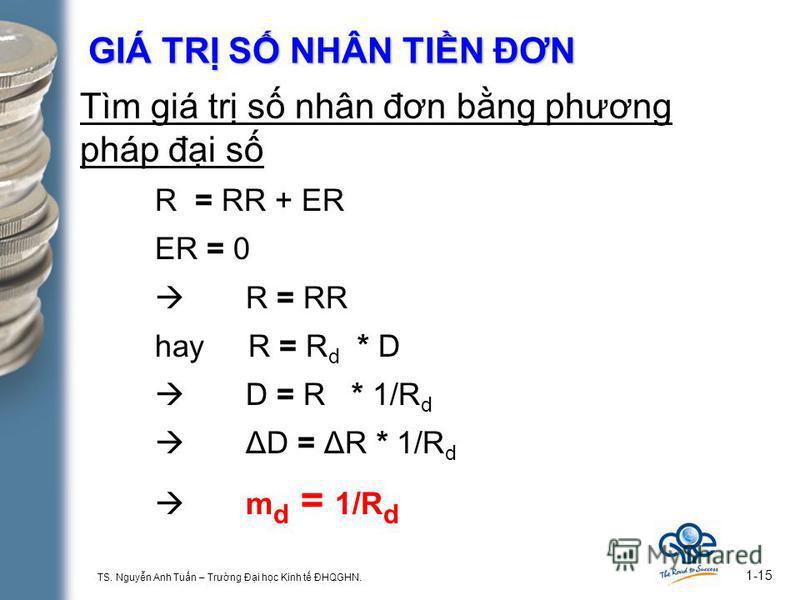 TS. Nguyn Anh Tun – Trưng Đi hc Kinh t ĐHQGHN. 1-15 GIÁ TR S NHÂN TIN ĐƠN Tìm giá tr s nhân đơn bng phương pháp đi s R = RR + ER ER = 0 R = RR hay R = R d * D D = R * 1/R d ΔD = ΔR * 1/R d m d = 1/R d
