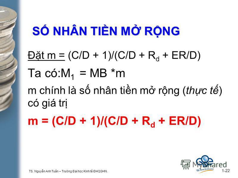 TS. Nguyn Anh Tun – Trưng Đi hc Kinh t ĐHQGHN. 1-22 S NHÂN TIN M RNG Đt m = (C/D + 1)/(C/D + R d + ER/D) Ta có:M 1 = MB *m m chính là s nhân tin m rng (thc t) có giá tr m = (C/D + 1)/(C/D + R d + ER/D)