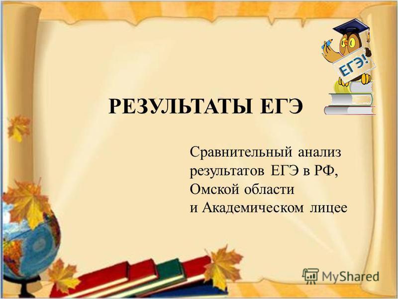 РЕЗУЛЬТАТЫ ЕГЭ Сравнительный анализ результатов ЕГЭ в РФ, Омской области и Академическом лицее