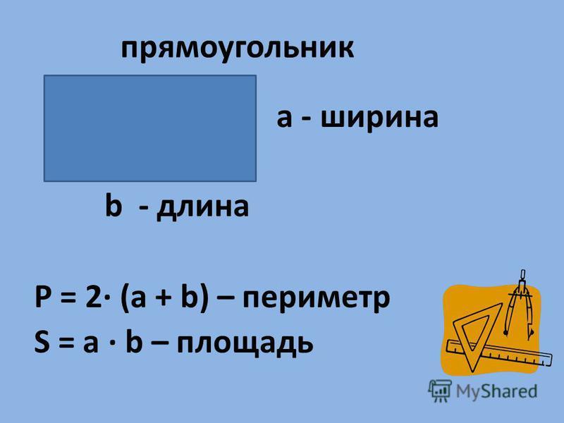 а - ширина b - длина P = 2· (a + b) – периметр S = a · b – площадь прямоугольник