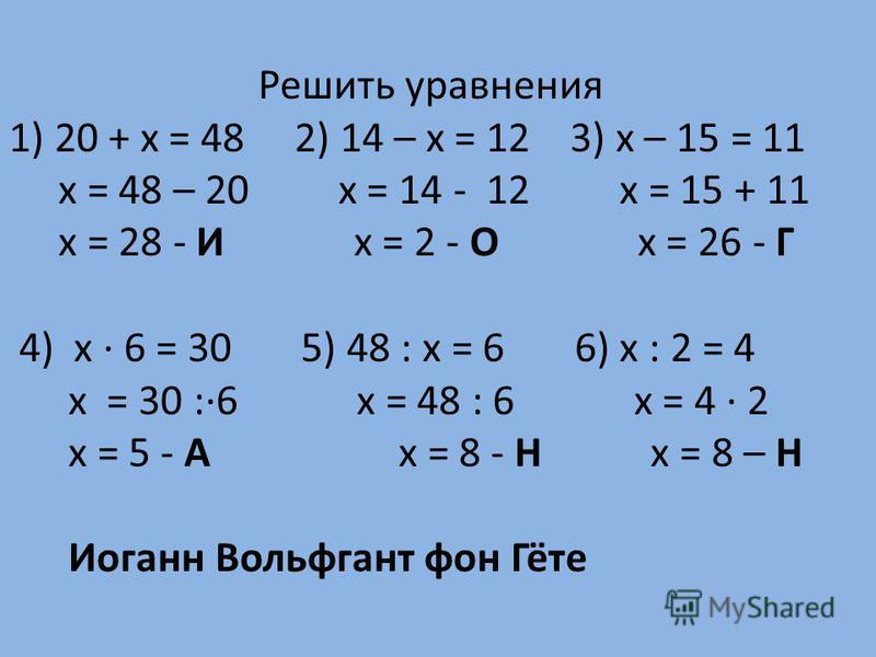 Решить уравнения 1) 20 + х = 48 2) 14 – х = 12 3) х – 15 = 11 х = 48 – 20 х = 14 - 12 х = 15 + 11 х = 28 - И х = 2 - О х = 26 - Г 4) х · 6 = 30 5) 48 : х = 6 6) х : 2 = 4 х = 30 :·6 х = 48 : 6 х = 4 · 2 х = 5 - А х = 8 - Н х = 8 – Н Иоганн Вольфгант