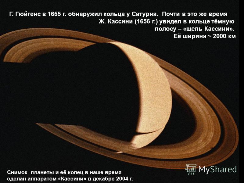 Г. Гюйгенс в 1655 г. обнаружил кольца у Сатурна. Почти в это же время Ж. Кассини (1656 г.) увидел в кольце тёмную полосу – «щель Кассини». Её ширина ~ 2000 км Снимок планеты и её колец в наше время сделан аппаратом «Кассини» в декабре 2004 г.