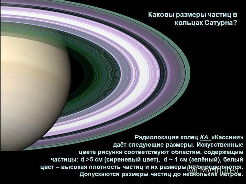 Каковы размеры частиц в кольцах Сатурна? Радиолокация колец КА «Кассини» даёт следующие размеры. Искусственные цвета рисунка соответствуют областям, содержащим частицы: d >5 см (сиреневый цвет), d ~ 1 см (зелёный), белый цвет – высокая плотность част