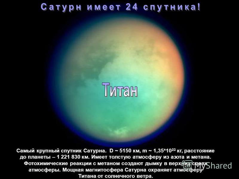 Самый крупный спутник Сатурна. Имеет плотную атмосферу. Масса = 1,35*10 23 кг, диаметр – 5150 км расстояние от Сатурна – 1 221 830 км. Самый крупный спутник Сатурна. D ~ 5150 км, m ~ 1,35*10 23 кг, расстояние до планеты – 1 221 830 км. Имеет толстую