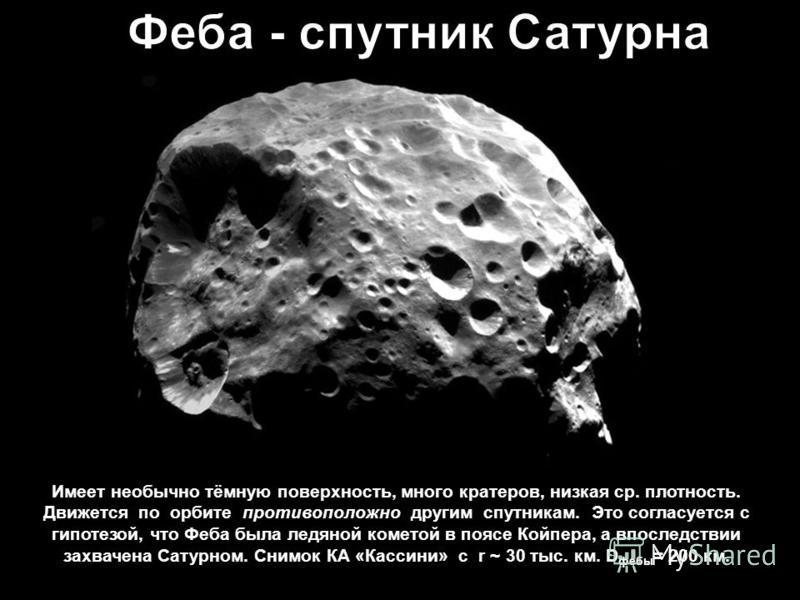 Имеет необычно тёмную поверхность, много кратеров, низкая ср. плотность. Движется по орбите противоположно другим спутникам. Это согласуется с гипотезой, что Феба была ледяной кометой в поясе Койпера, а впоследствии захвачена Сатурном. Снимок КА «Кас