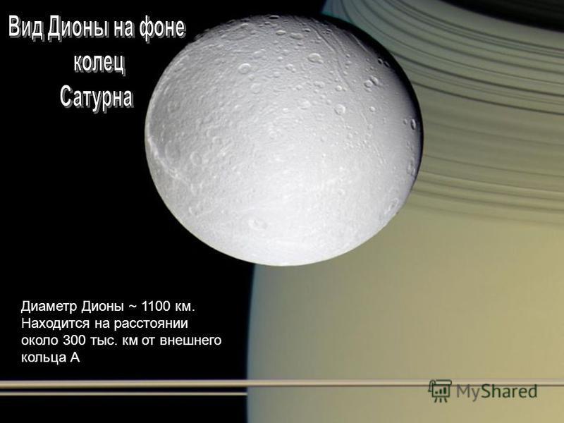 Диаметр Дионы ~ 1100 км. Находится на расстоянии около 300 тыс. км от внешнего кольца А
