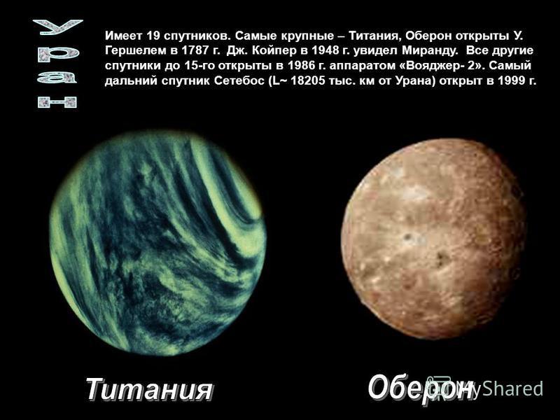 Имеет 19 спутников. Самые крупные – Титания, Оберон открыты У. Гершелем в 1787 г. Дж. Койпер в 1948 г. увидел Миранду. Все другие спутники до 15-го открыты в 1986 г. аппаратом «Вояджер- 2». Самый дальний спутник Сетебос (L~ 18205 тыс. км от Урана) от