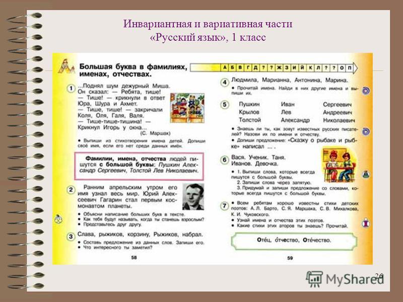 26 Инвариантная и вариативная части «Русский язык», 1 класс