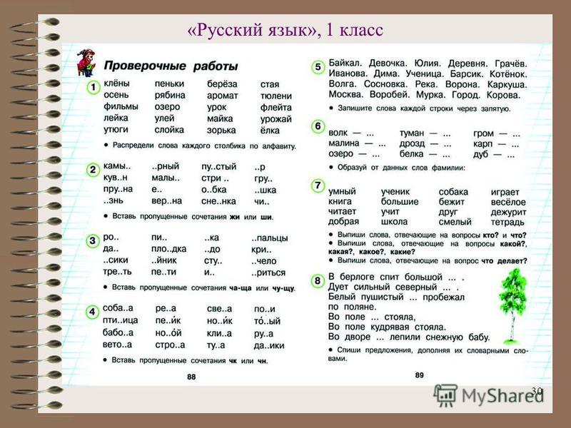30 «Русский язык», 1 класс