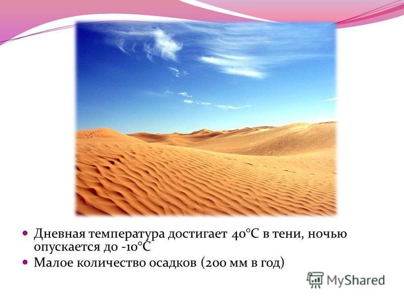 Дневная температура достигает 40°C в тени, ночью опускается до -10°С Малое количество осадков (200 мм в год)