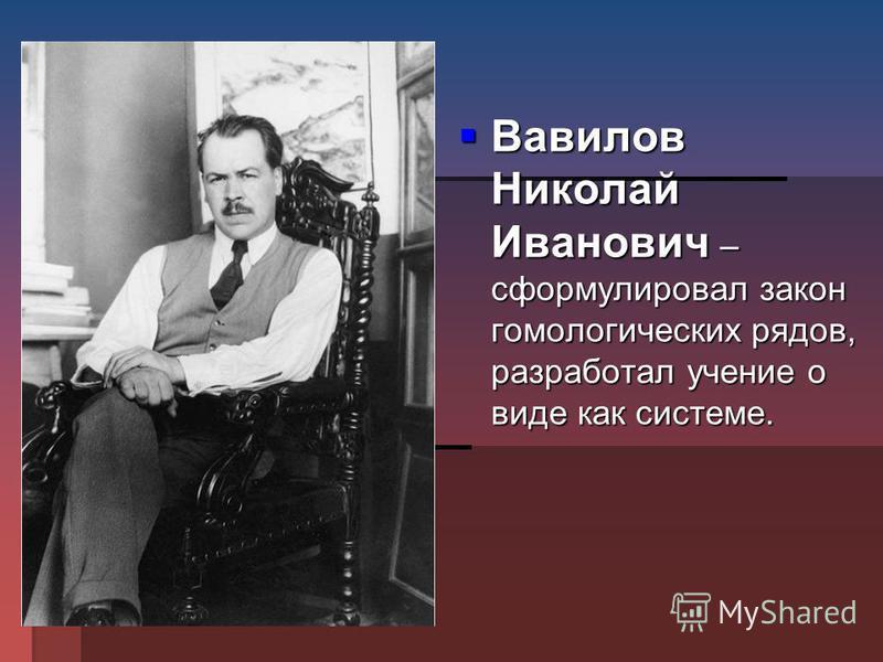 Вавилов Николай Иванович – сформулировал закон гомологических рядов, разработал учение о виде как системе. Вавилов Николай Иванович – сформулировал закон гомологических рядов, разработал учение о виде как системе.