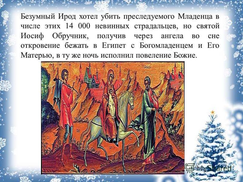 Безумный Ирод хотел убить преследуемого Младенца в числе этих 14 000 невинных страдальцев, но святой Иосиф Обручник, получив через ангела во сне откровение бежать в Египет с Богомладенцем и Его Матерью, в ту же ночь исполнил повеление Божие.