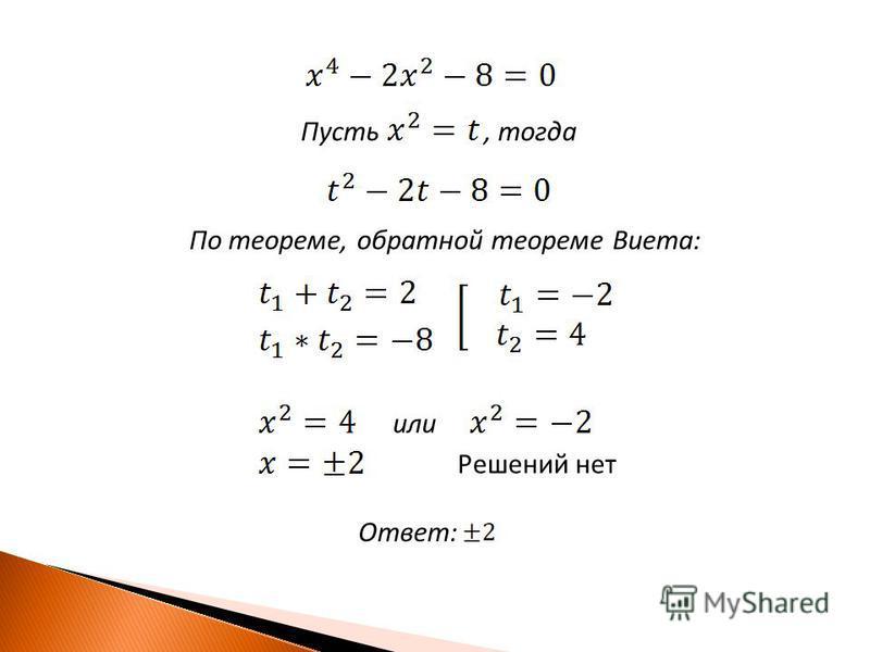 Пусть, тогда По теореме, обратной теореме Виета: или Ответ: Решений нет