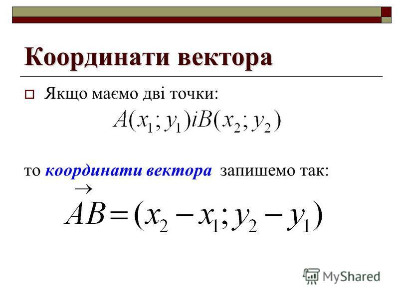 Координати вектора Якщо маємо дві точки: то координати вектора запишемо так: