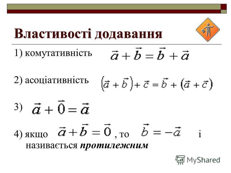 Властивості додавання 1) комутативність 2) асоціативність 3) 4) якщо, то і називається протилежним
