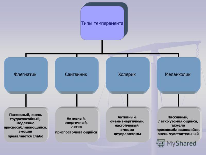 Темперамент - устойчивое объединение индивидуальных особенностей личности, связанных с динамическими аспектами деятельности. К свойствам темперамента относят: индивидуальный темп и ритм психических процессов индивидуальный темп и ритм психических про