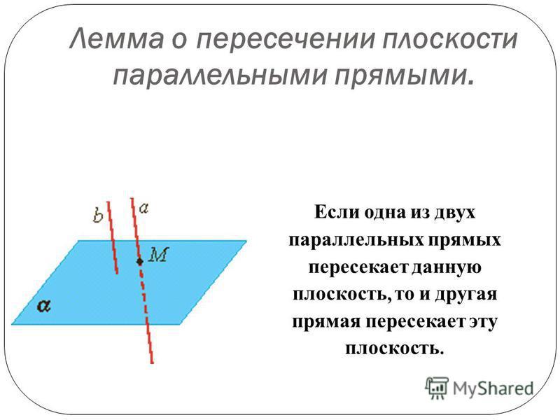 Лемма о пересечении плоскости параллельными прямыми. Если одна из двух параллельных прямых пересекает данную плоскость, то и другая прямая пересекает эту плоскость.
