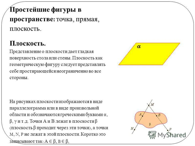 Простейшие фигуры в пространстве : точка, прямая, плоскость. Плоскость. Представление о плоскости дает гладкая поверхность стола или стены. Плоскость как геометрическую фигуру следует представлять себе простирающейся неограниченно во все стороны. На